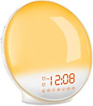 TITIROBA Wake-Up Light, Sunrise Simulation Alarm Clock, Sleep Aid Colored Bedside Light with FM Radio Dual Alarm Adjustable Lightness for Kids and Adults Bedroom