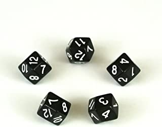 Set of Five Rhombic Dodecahedron D12 12-sided Dice in Black