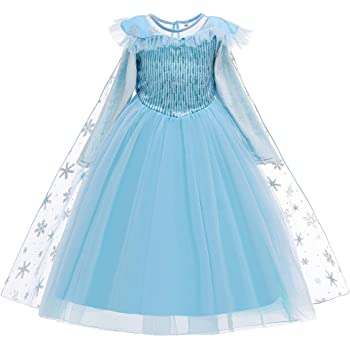 IWEMEK Niñas Disfraz de Princesa Elsa Frozen Vestido Manga Larga ...