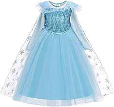 Mädchen Eiskönigin Elsa Kostüm Maxikleid mit Schneeflocke Langer Umhang Kleid Kinder Baby Prinzessin Cosplay Karneval Fasc...