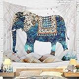 Dremisland Mandala Tapiz de Pared Indio Bohemio Psicodélico Elefante Hippie Colgar en la Pared Tapices Blancos Toalla de Playa Estera de Yoga Manta Tiro (M / 130 X 150 cm)