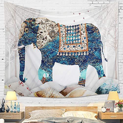Dremisland Mandala Tapiz de Pared Indio Bohemio Psicodélico Elefante Hippie Colgar en la Pared Tapices Blancos Toalla de Playa Estera de Yoga Manta Tiro (L / 148 X 200 cm)