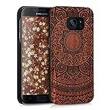 kwmobile Funda Compatible con Samsung Galaxy S7 - Carcasa de Madera - Case Trasero Duro Sol hindú