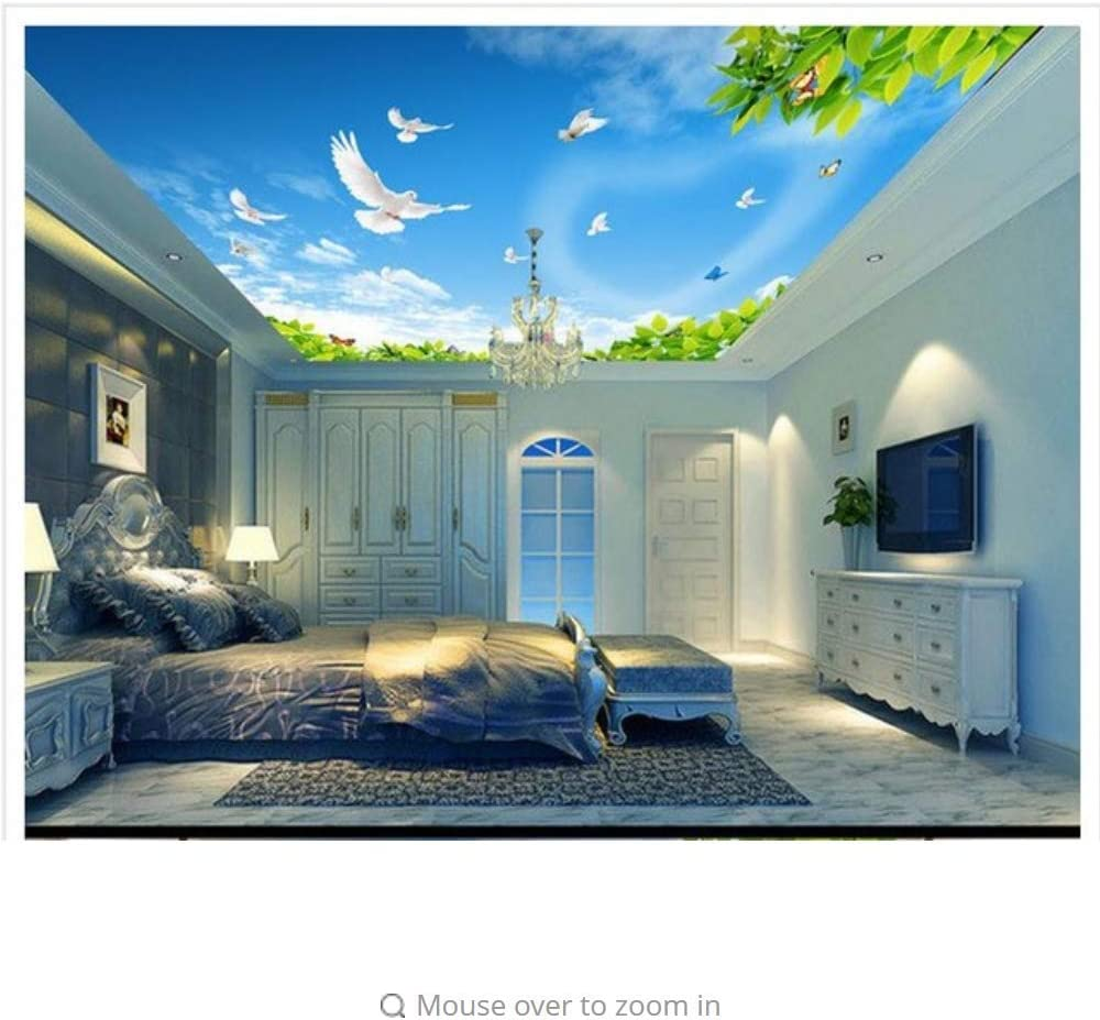 Amazon Com Pbldb Custom Mural 3d Non Woven Wallpaper Blue Sky Green Dove Ceiling Roof Background Wall Murals Beauty Home Decoration 350x250cm Furniture Decor