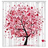 KOTOM Tree of Life Shower Curtain for Bathroom, Valentines Tree with Pink Hearts Doodles Decorated Shower Curtain, Fabric Bathroom Curtain 12PCS, 69X70 Inches