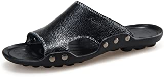 Z.L.FFLZ Men Sandals Men's Genuine Cowhide Leather Beach Slippers Handwork Non-slip Sole Sandals guess (Color : E blue, Si...