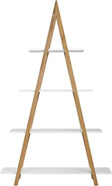 Universal Expert Abacus 4-Tier Ladder Bookcase, Leaning Free Stand Wood Bookshelf Frame Storage Rack, Display Shelf for Home