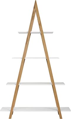 Universal Expert Abacus 4-Tier Ladder Bookcase, Leaning Free Stand Wood Bookshelf Frame Storage Rack, Display Shelf for Home Office, Oak and White