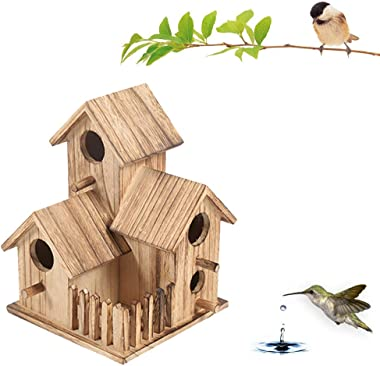 RESSE Wooden Bird House Outdoor, Outside/Indoors/Hanging Birdhouses, Eco Friendly Materials and Decorative Birdhouse & Home Decoration, for Birds, Bluebirds & Chickadees