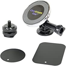Livestream Gear - Universal Magnetic Phone Mount, Sport Camera Tripod Adapter, and Hot Shoe Adapter for use with DLSR Camera or Tripod. Easily Attach a Phone via Magnetic Mount and Metallic Plates.