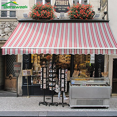 Diensweek 12'x8' Patio Awning Retractable Manual Commercial...