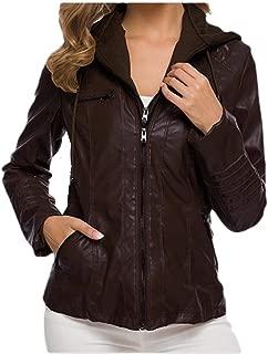 neveraway Womens Plain Zip Bomber Leather Hood Oversized Outwear College Jacket