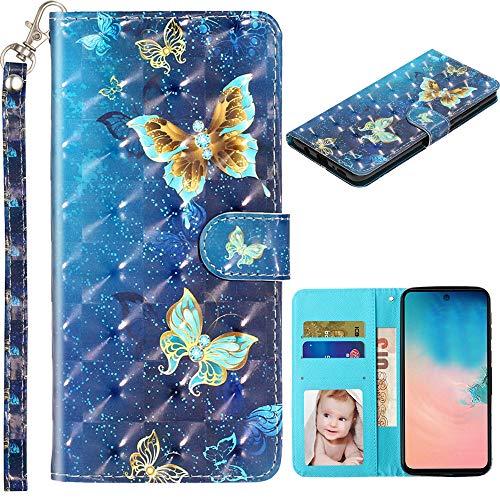 Capa carteira XYX para Samsung Galaxy A6+ Plus/A9 Star Lite 2018/J8 2018, capa carteira flip de couro sintético colorida com suporte com compartimentos para cartão e alça de pulso, borboleta dourada azul