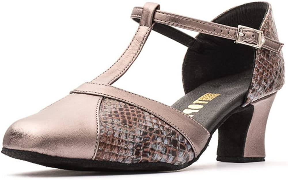 Ladies Brown Python PU Lace Up Practice Showtime Stage Ballroom Dance Shoes Katz