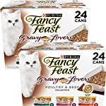 Cat Food Purina Fancy Feast Gravy Lovers (Poultry & Beef Feast Variety) – Wet Cat Food – 3oz cans/24pk – Pack of 2