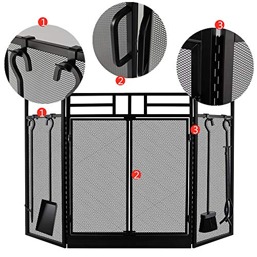 Amagabeli Fireplace Screen with Doors Large Flat Guard Fire Screens with Tools Outdoor Metal Decorative Mesh Solid Wrought Iron Fire Place Panels Wood Burning Stove Accessories Black