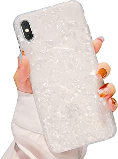 Dailylux iPhone XR Case,Cute Phone Case for Girls Women Glitter Pretty Design Protective Slim Shockproof Pearly-Lustre Shell Bumper Soft Silicone TPU Cover for iPhone XR 6.1 inch 2018,White