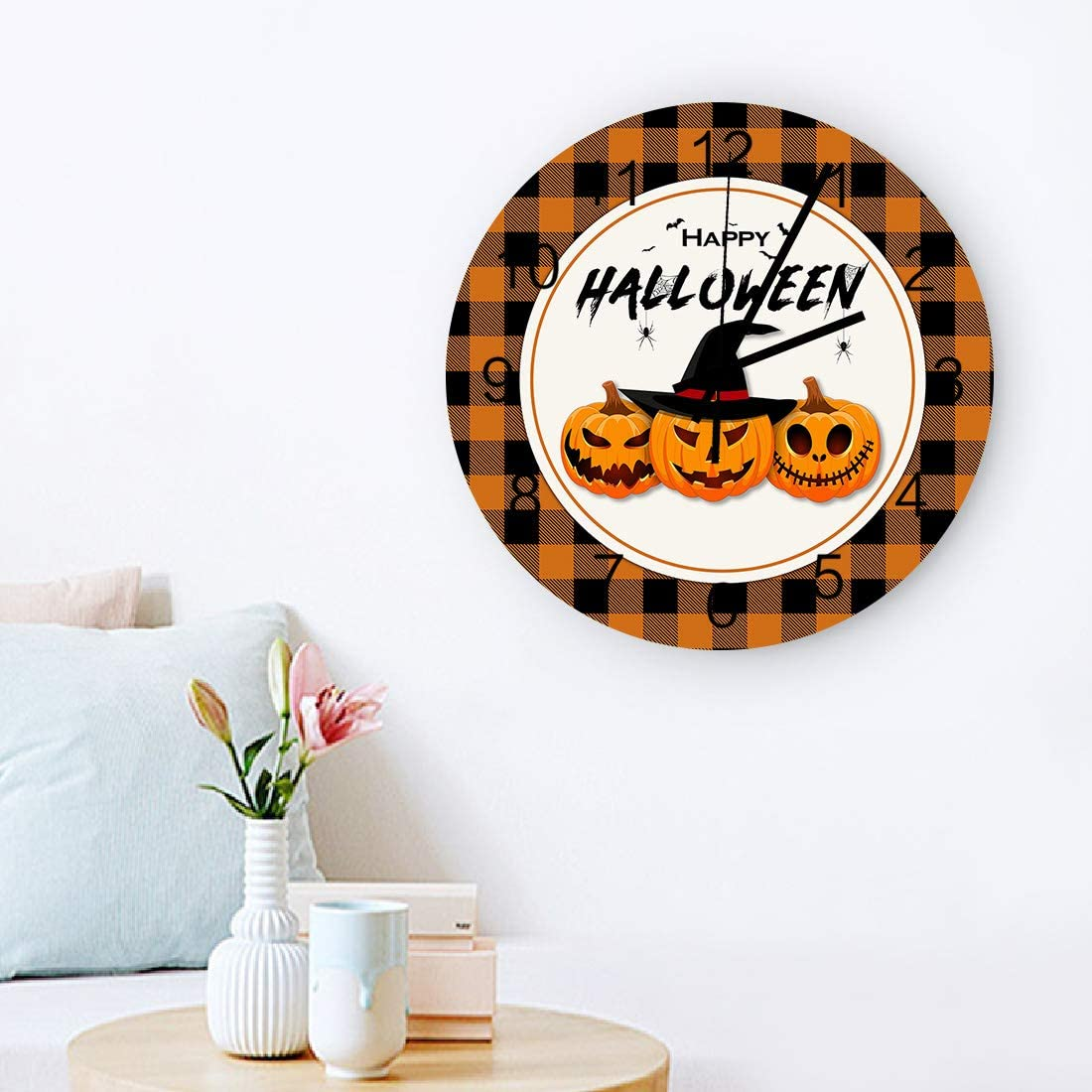 Ranking TOP6 Wood Genuine Round Wall Clock 12 Pumpkins Inch Halloween Non-Tic Silent