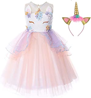 TTYAOVO Girls Unicorn Costume Dress Kids Pageant Flower Princess Party Dresses