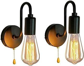 DINGYGJ 2pack lámpara de pared industrial, lámpara de pared retro vendimia con el interruptor de cordón de tiro Edison E27 Lampenfussung soporte metálico de la lámpara industrial for la barra casera d