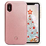 iPhone X case, iPhone Xs Case, LED Illuminated Selfie Light, [Rechargeable] Cell Phone Cover Light up Phone case Flashlight Case for iPhone X/iPhone Xs Plus(Rose Gold X/XS)