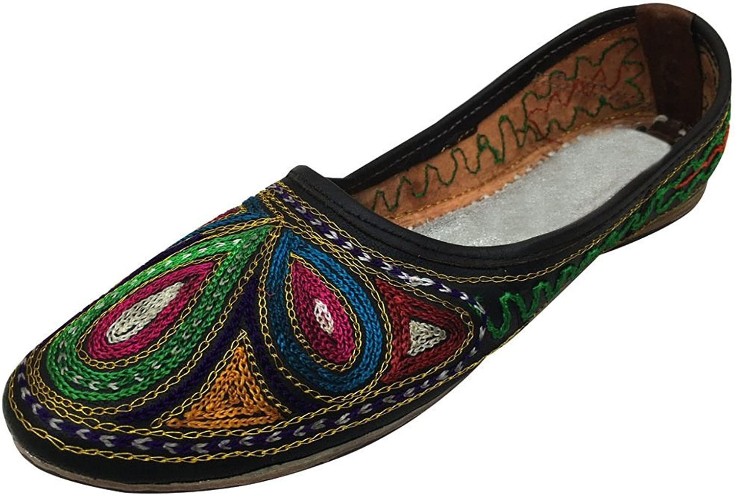Step n Style Women Leather Multi Traditional Rajasthani Juti Mojari Slppers Handmade