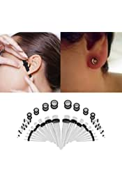 36pcs Fashionable Ear Stretching Kit Tapers Plugs Stud Earrings Taper Expander Flesh Tunnels O-Ring Ear Gauges Body Piercing Jewelry Gift TMISHION Premium Acrylic Ear Expander Stretcher