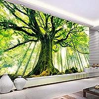 壁のリビングルームの背景の装飾の壁紙のための3Dグリーンギグツリー自然風景写真壁画-350x250cm