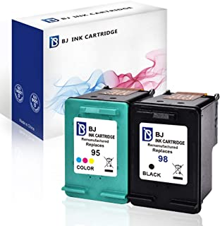 BJ Remanufactured Ink Cartridge Replacement for HP 98 95 for HP Officejet 150 100 6310 PhotoSmart 8050 C4180 C4150 Deskjet 460 5940 Printer (1 Black 1 Tri-Color)
