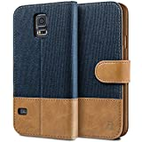 BEZ Coque pour SamsungGalaxyS5, Etui Samsung Galaxy S5 / S5 Neo Housse en Cuir Textile Flip Case Portefeuille à Rabat avec Porte-Cartes de Crédit, Fermeture Magnétique - Bleu Marine