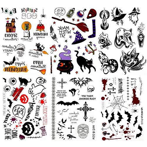 HOWAF Tatuajes Temporales de Halloween, Pegatinas de Tatuajes para Niños y Niñas, Fantasma Zombi Murciélago Negro Tatuajes para Fiestas de Halloween Maquillaje