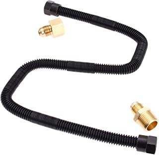 """DRELD 1/2"""" X 24"""" Flexible Flex Gas Line Hose with Brass Connector Kit, Fit for LPG, NG Propane Fire Pit Hose - 3/8""""Male Fl..."""