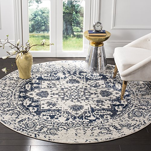 Safavieh Madison Collection MAD603D Cream and Navy Distressed Medallion Round Area Rug (9' Diameter)