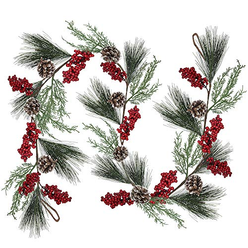 6.6 feet Artificial Christmas Pine Garland with Berries Pinecones Cypress Winter Greenery Garland for Holiday Season Mantel Fireplace Table Runner Centerpiece Decoration