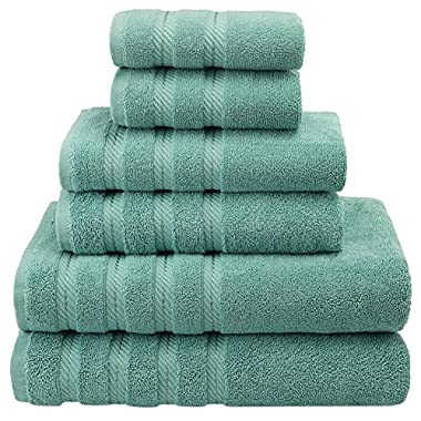 Premium, Luxury Hotel & Spa Quality, 6 Piece Kitchen and Bathroom Turkish Towel Set, 100% Genuine Cotton for Maximum Softness and Absorbency by American Soft Linen, [Worth $72.95] (Aqua Blue)