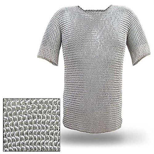 Medieval Renaissance Haubergeon Replica Warrior Chainmail Armor Long Shirt XL