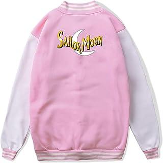 VJJ AIDEAR Sailor Moon Logo Baseball Uniform Jacket Sport Coat Child Long Sleeve Hoodie Outwear Black