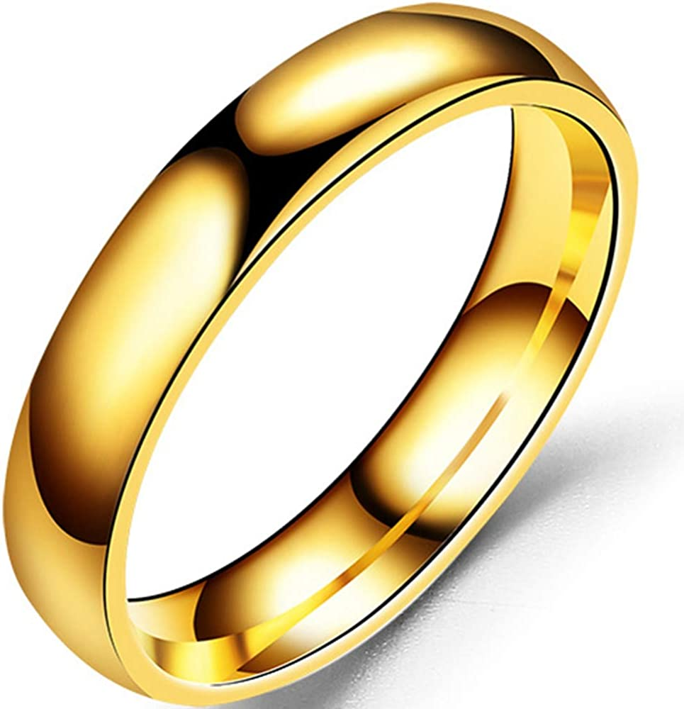 4mm Stainless Steel Classical Simple Plain Dome Style Wedding Band Ring