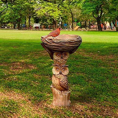 Vogeltränke für den Garten, Polyresin Big Tree Shape Vogelbad Brown Podest Handgefertigte Geschenke für den Hausgarten im Freien, Gartendekorationen (F)