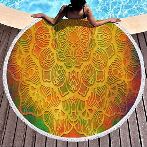 COMBON Shop Toalla de playa redonda de gran tamaño, color amarillo, para camping, color blanco de 59 pulgadas