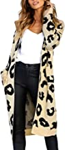 Loosebee◕‿◕ Women Long Sleeve Open Front Leopard Knit Long Cardigan Print Knitted Sweater Coat Outwear with Pockets