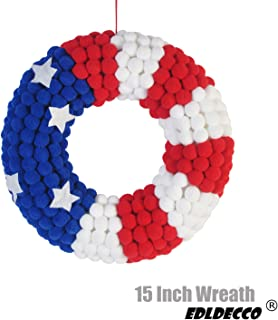 EDLDECCO 15 Inch Front Door Wreath Patriotic American Flag USA Stars & Stripes Wreath in Red White & Blue for 4th of July Memorial Day Veterans Day Wall Porch Home Hanging Decoration (Circle)