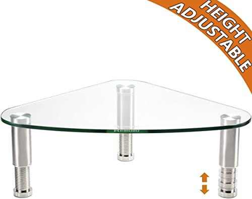 Clear Glass Computer Monitor Riser/Triangle Desktop Universal Corner Stand for Computer Monitor & Laptop HD01T-003 product image