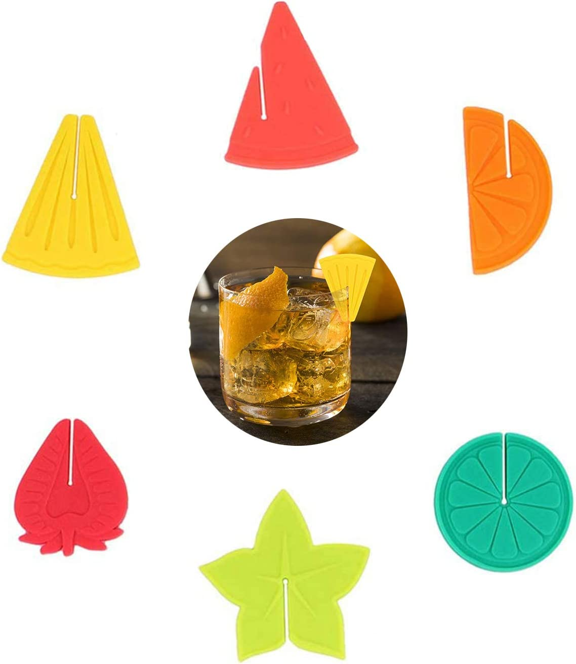 Nashville-Davidson Mall ELANE 6Pcs Glass Minneapolis Mall Markers Fruit Shapes Silicone Drink Gla