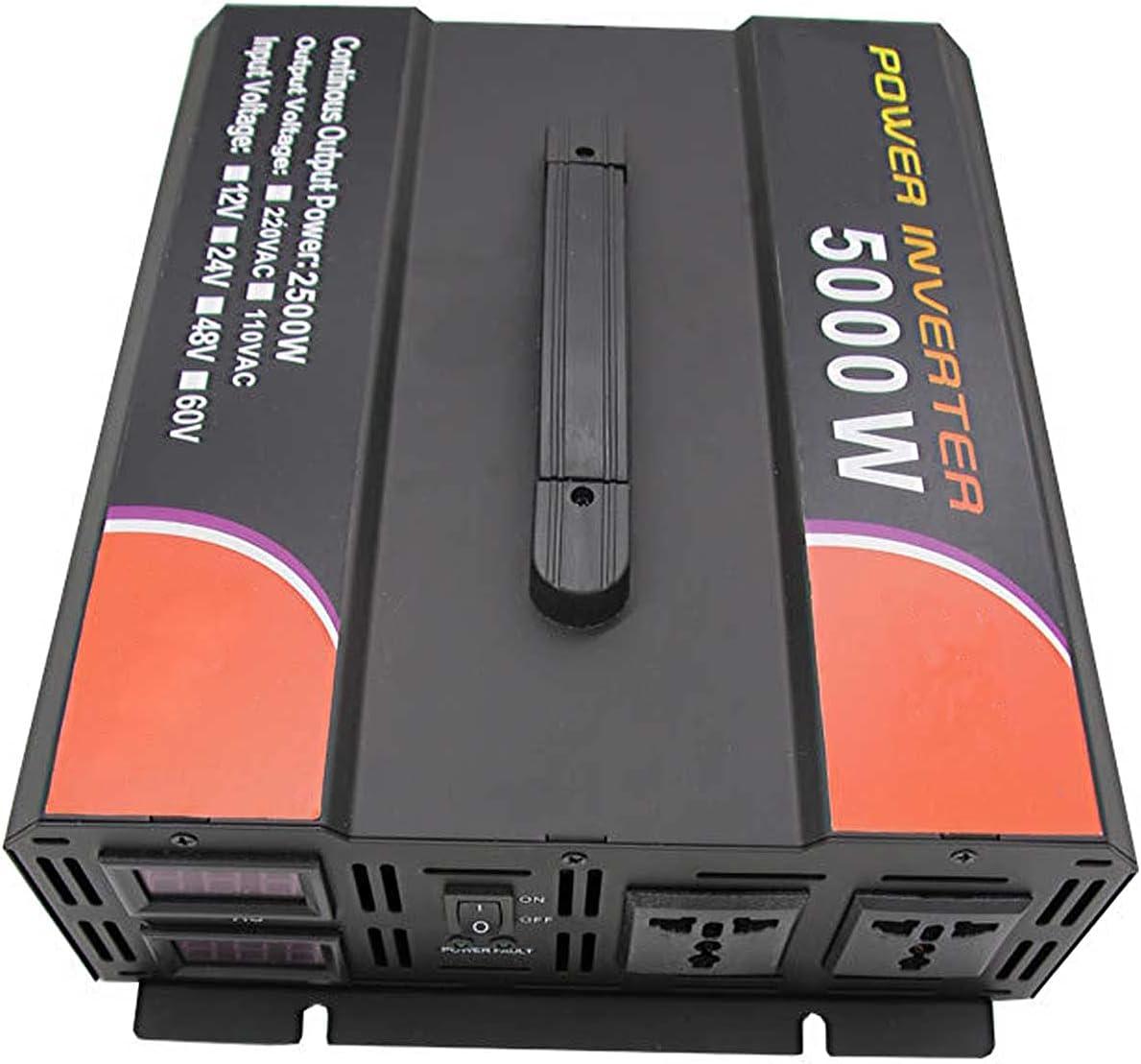 FDQNDXF Inversor de Onda Sinusoidal Pura de 5000 W / 6000 W, Convertidor de Voltaje de 12 v / 24 v a 220 v, Inversor de Corriente para Automóvil con Salidas de CA Dobles, para Camión y Barco de RV