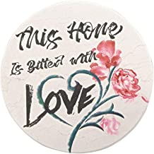 Trinsi Absorbent Ceramic Stone Coasters for Drinks, Home Love, Set of 4 Pieces