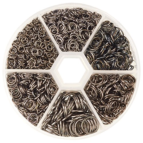 PandaHall Elite 1 Small Box of Assorted Iron Jump Rings 4 5 6 7 8 10mm, Black, about 1745pcs with Container