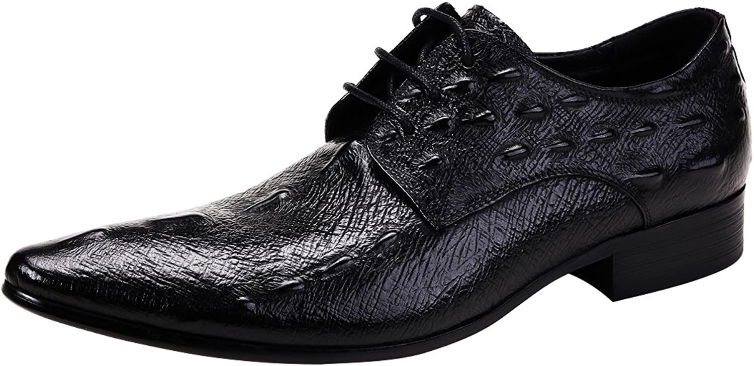 MERRYHE Men's Crocodile Pattern Pointed Lace Ups Derby Genuine Leather Business Formal Dress shoes