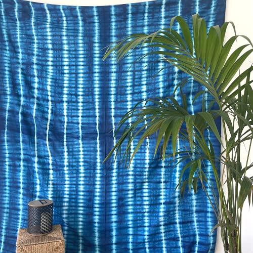 MOMOMUS Tapiz Shibori Tie Dye - 100% Algodón, Grande, Multiuso - Colcha / Foulard / Tela Ideal como Cubre Sofá o Cubrecamas - Azul C, 210x230 cm