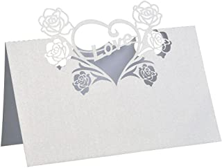 BinaryABC Wedding Party Table Name Place Cards with Rose Love Heart,50pcs - White